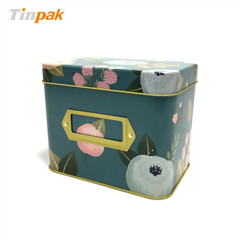 Decorative large rectangle card tin recipe tin box from china supplier