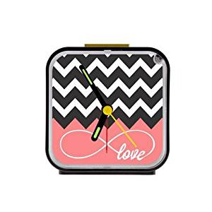 Love Infinity Forever Love Symbol Chevron Pattern Pink Black White Square Black Alarm Clock 100% Quartz