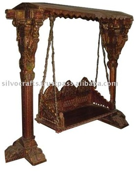 Royal Indian Rajasthani Jodhpur Hand Carved Wooden Swing Jhoola Indian Antique Reproduction