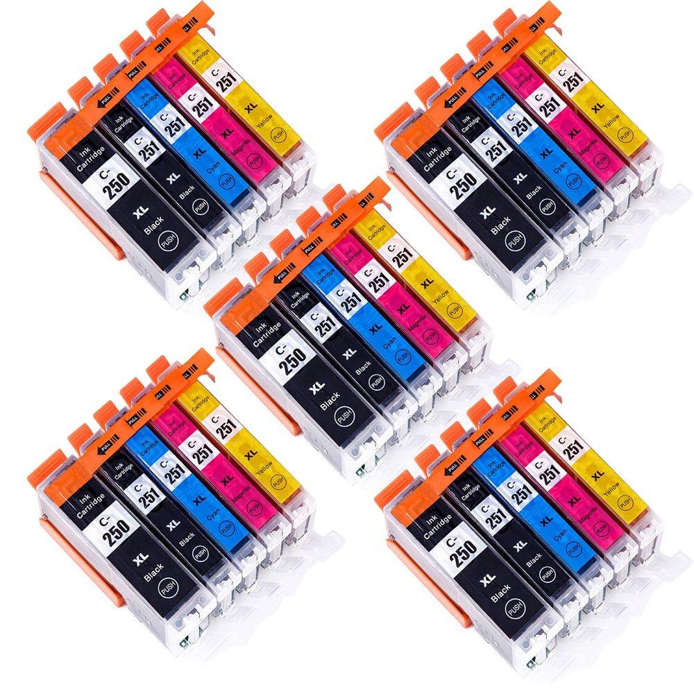 Wolfgray 25 PK Compatible Ink Cartridge PGI-250XL CLI-251XL for PIXMA MX922 MG5522 MG5620 MG6620 MG6600 MX920 iX6820 iP7220 (5Large BK+5BK+5C+5M+5Y)