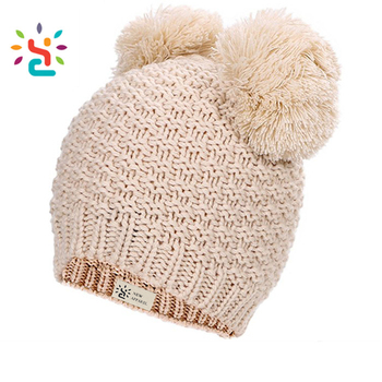 133df70fa130d Double pom pom beanie baby cotton winter hats boys children funny knitting  hat toddler beanies knitted