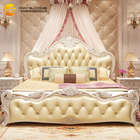 European solid wood bed 1.8 meters master bedroom furniture leather bed luxury carved Princess bed neoclassical