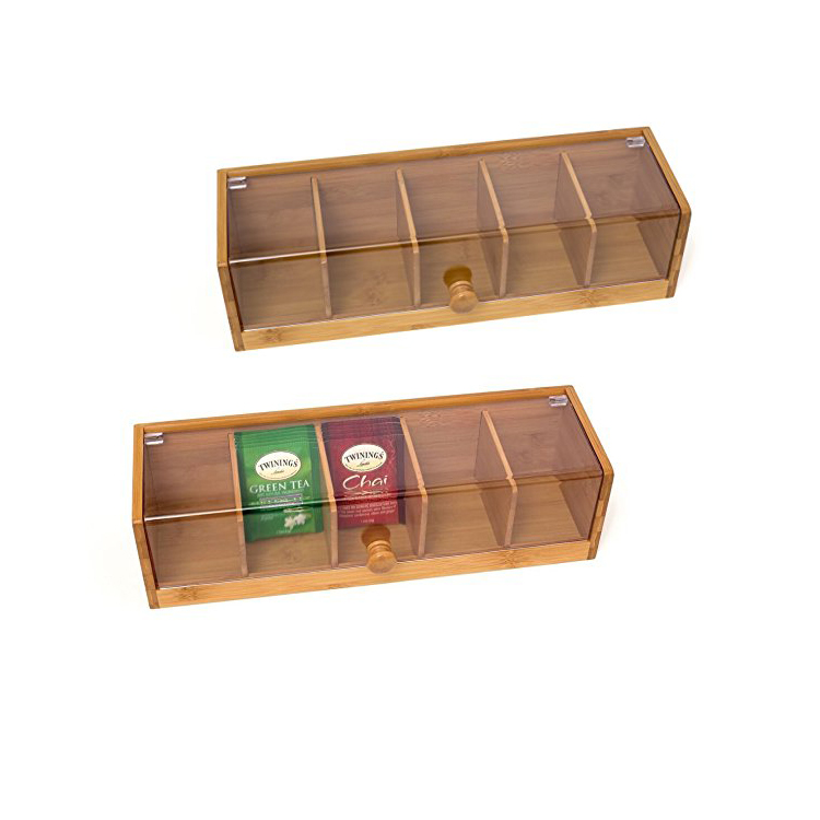 Custom Logo Wood Gift Boxes Glass Lid Rustic Wooden Tea Bag Storage Box With Clear Window