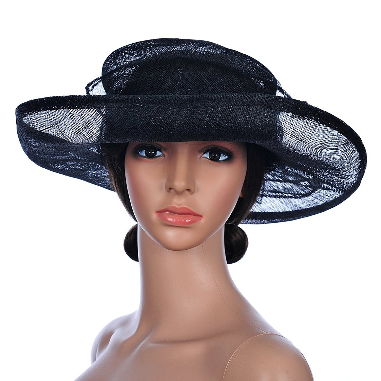 ef21c3552c23b6 Get Quotations · Remedios Kentucky Derby Hats Church Hats Wide Brim Sinamay  Hat Women Formal Dress Cap
