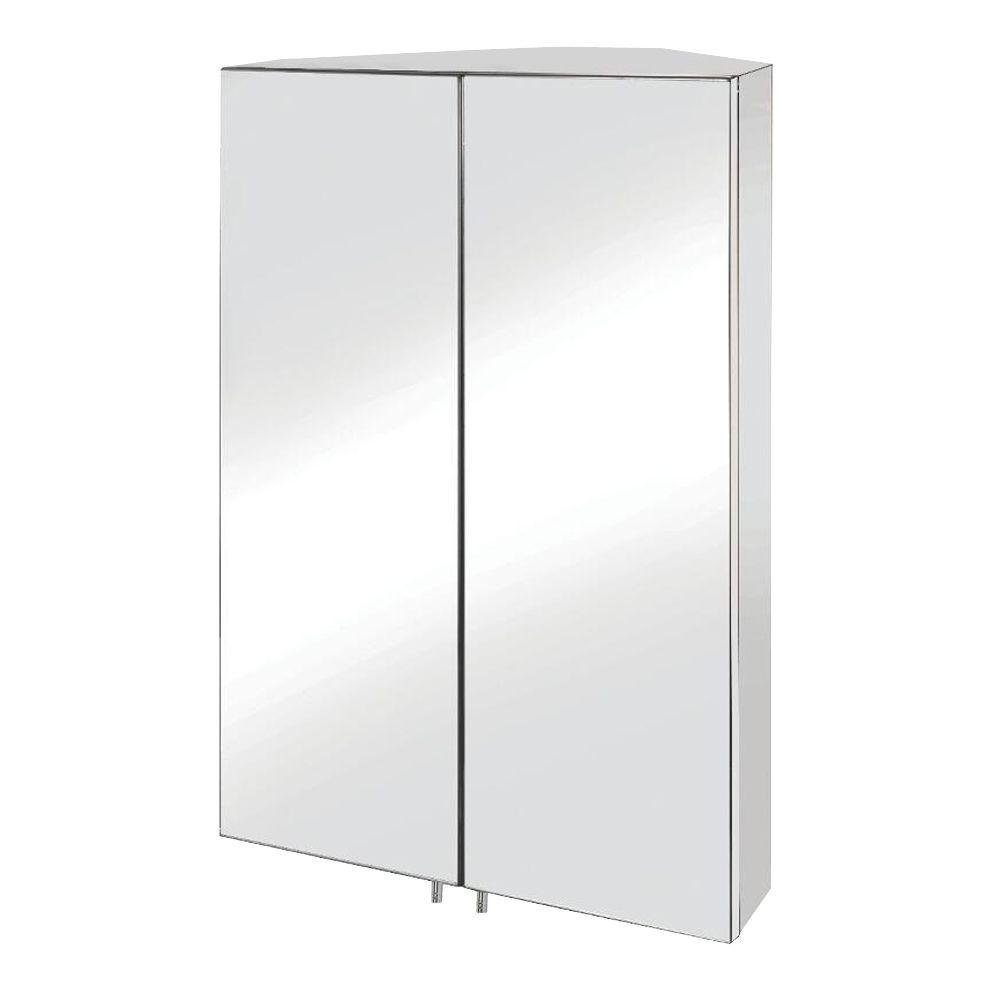 Croydex WC766105YW Avisio Double Door Corner Med Cabinet, Stainless