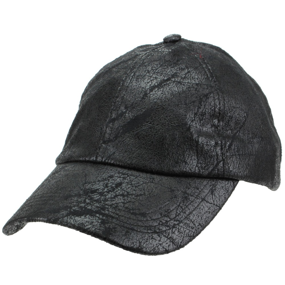 6 panel unstructured black cowhide dad hat, custom plain leather baseball cap