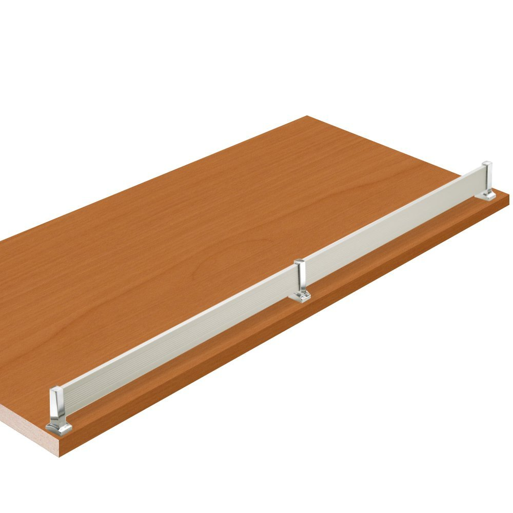 """12""""W x 24""""L, Bartlett Pearwood Closet Shelves with Matt aluminum shoe fence and PVC Edge Banding in front - CHOOSE YOUR SIZE - 2 Pack"""
