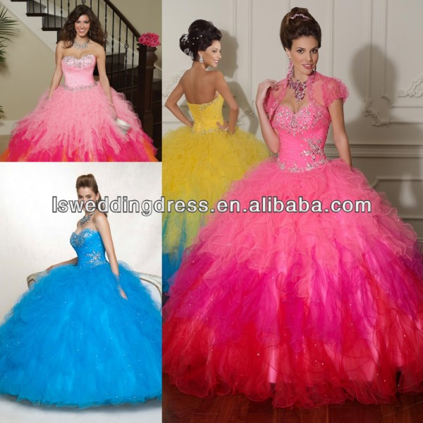 HQ2020 Hot pink shinny beaded top gathered layers tulle two colors ball gown big skirt lace up back peacock quinceanera dresses