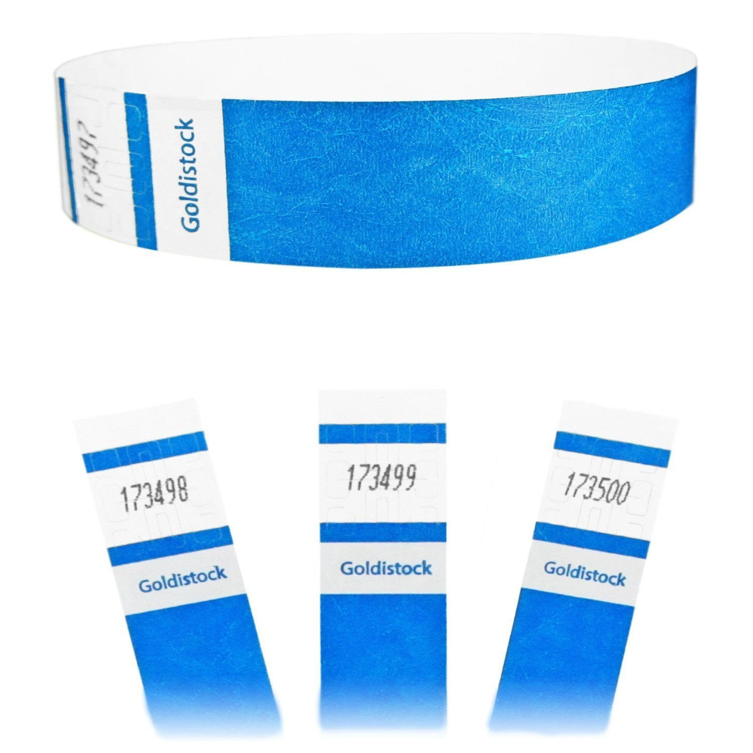 "Goldistock Select Series - 3/4"" Tyvek Wristbands Vibrant Deep Neon Blue 500 Count - Event Identification Bands (Paper - Like Texture)"