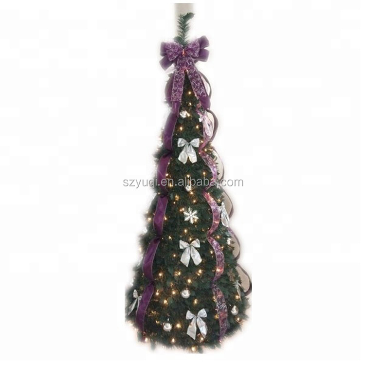 New Product Ideas 2019 6' Pre-Lit Gold and Red Plaid Decorated Pop Up Artificial Christmas Tree - Multi Lights