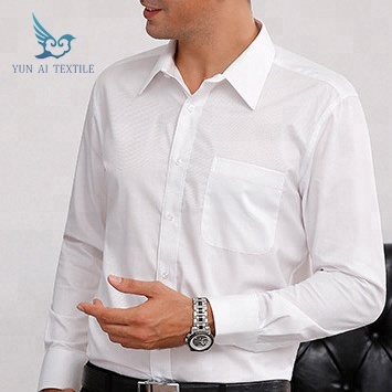 Custom logo bank uniform ontwerp mens white solid dress shirt kantoor in bulk