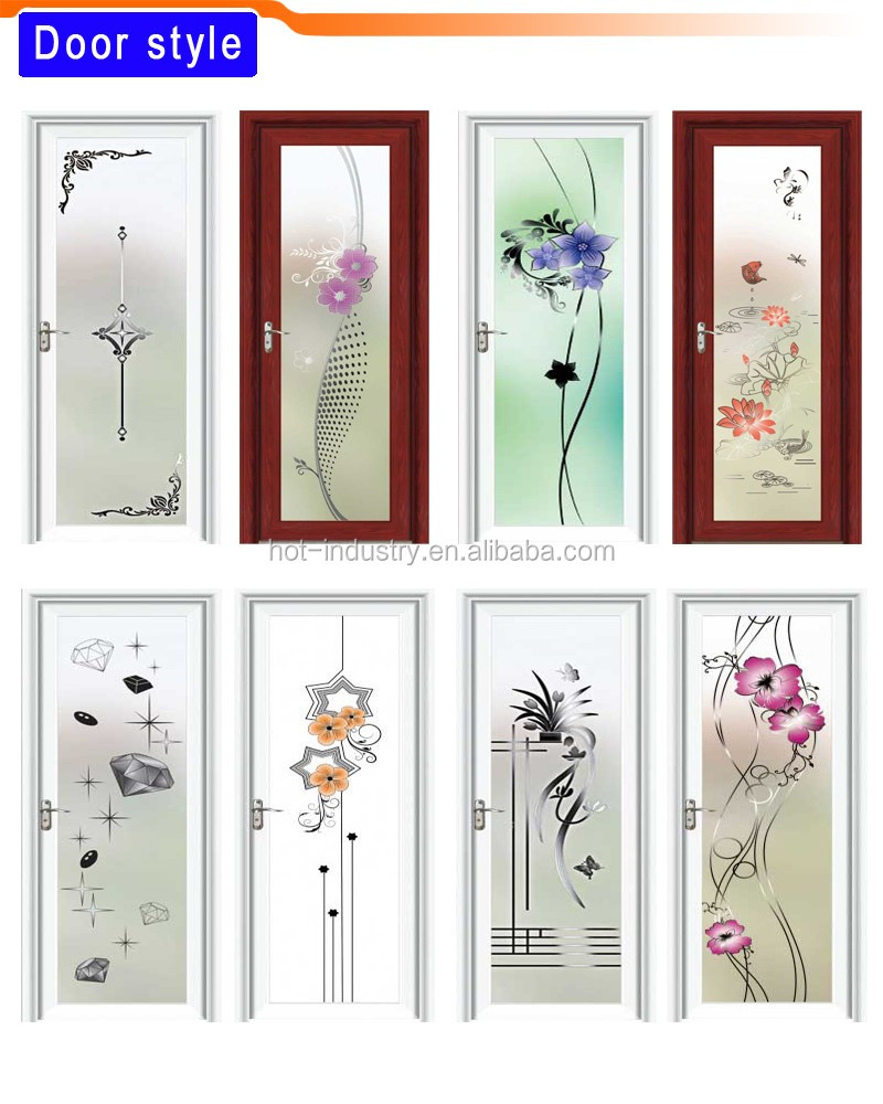 Bathroom Entry Doors factory price aluminum half glass door design bathroom entry doors