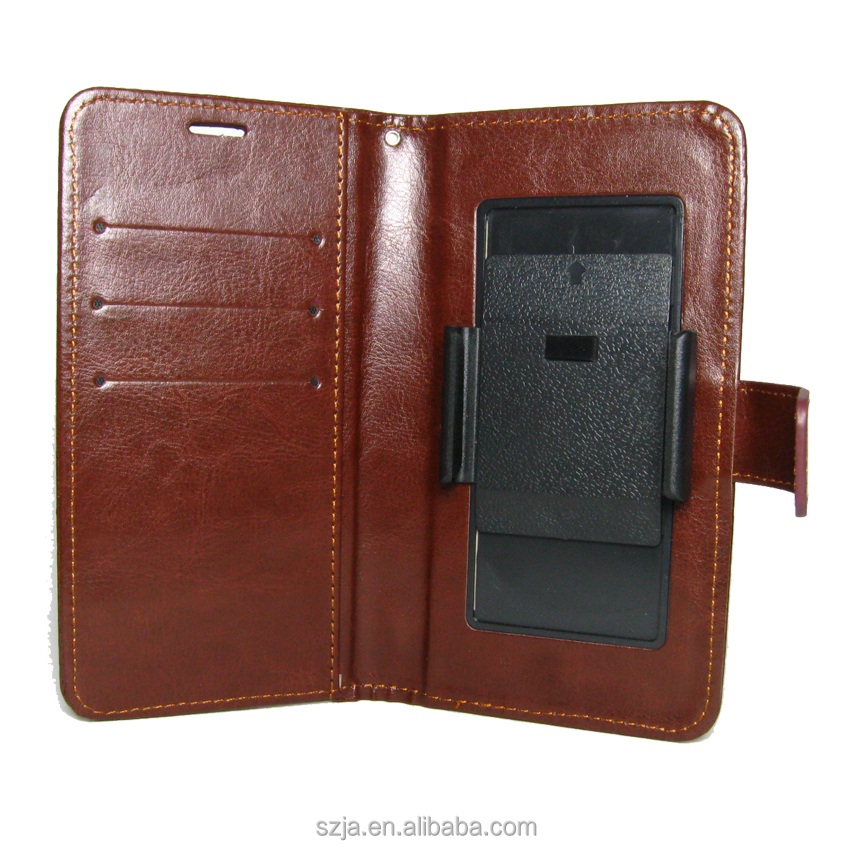 Customized Size 4 to 6 inch Universal Sliding PU Leather wallet <strong>case</strong>