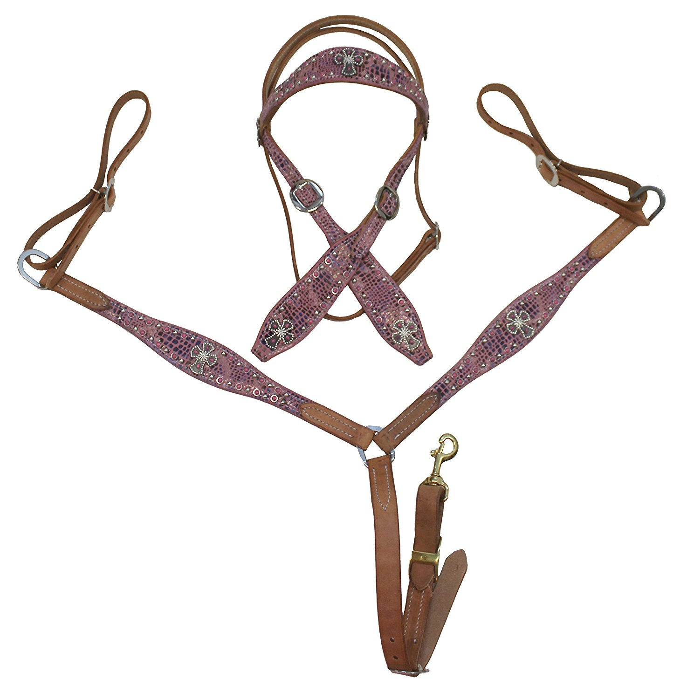 Showman Mini Size Purple Metallic Snake Print Headstall and Breast Collar Set