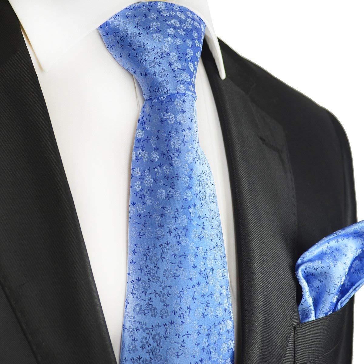 d0e7c35e67c3 Get Quotations · Blue Floral Silk Tie and Pocket Square . Paul Malone Red  Line