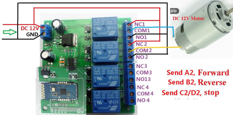 12V 4Ch Bluetooth Relay Android Mobile Remote control Switch ... Ac Wiring Diagram V Led Lights on
