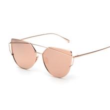 99313abdb4ee0 Rosa Espelho do vintage feminino Olho de Gato Mulheres Óculos De Sol Da  Marca Designer Twin