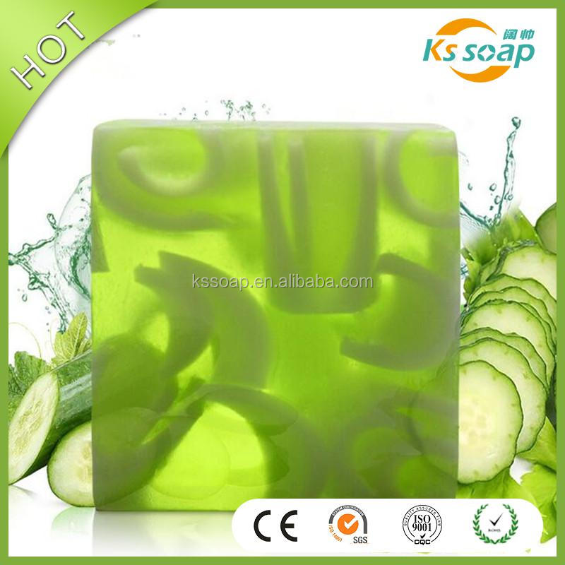 OEM Cucumber Fruit Essential Oil hand soap,customized transparent soap