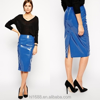 2014 Hot Selling Midi Skirt Shiny Leather Skirt Ladies Pencil ...