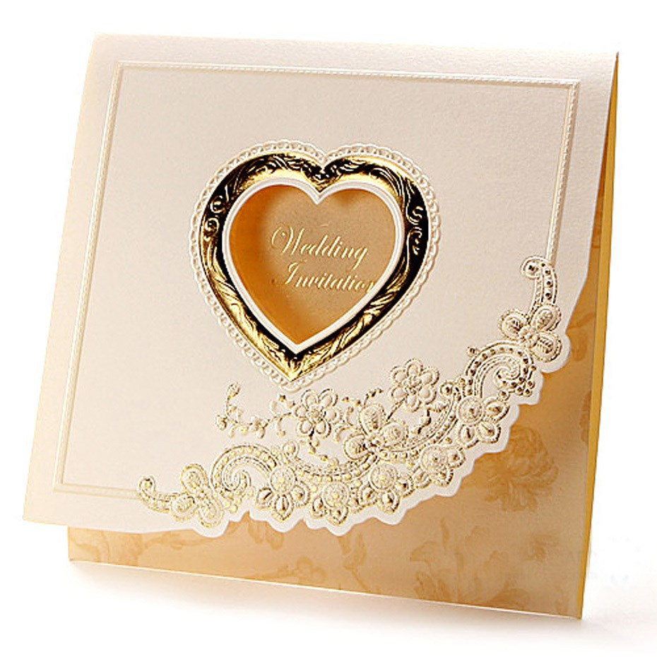 2015gold Premium/heart Shaped Wedding Card Invitation Wedding ...