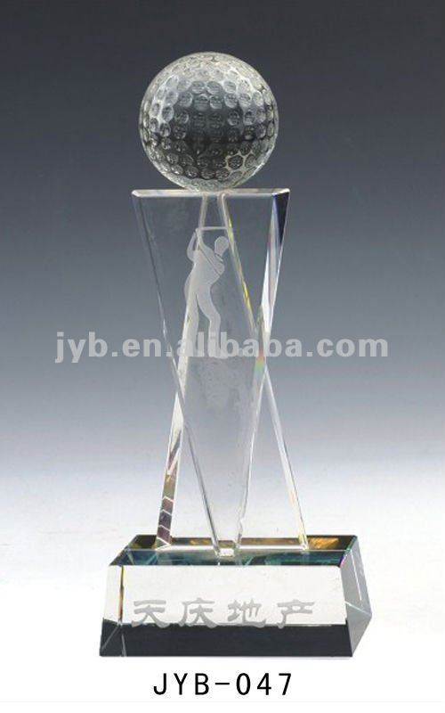 Crystal golf trophy cup