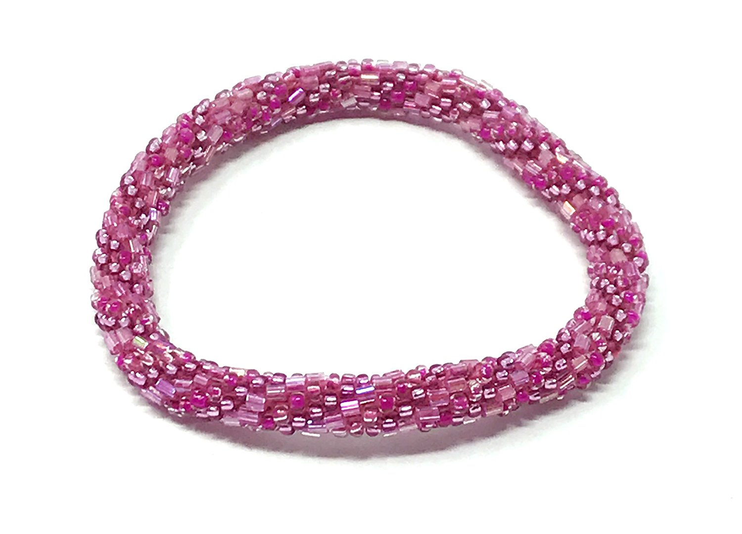 8de6b8a6cec3 Get Quotations · WigsPedia Crochet Glass Seed Bead Nepal Roll on Boho  Bracelet - Pink001