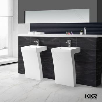 Artificial Stone Bathroom Marble Pedestal Sink Free Standing