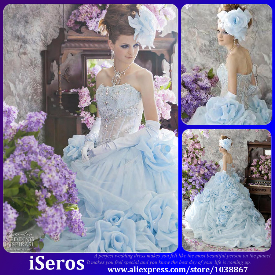 Crystal Bodice Wedding Gown: Luxury Pale Blue Crystal Corset Bodice Pleated Flower