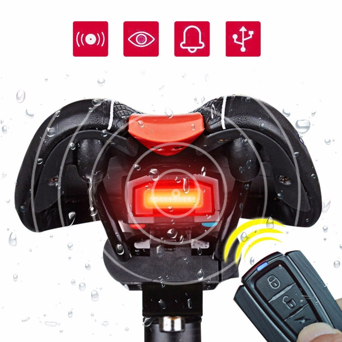 Bicycle Wireless Taillight OUTERDO 3 in 1 Cycling Alarm Bike Light Mountain Bike Bell Tail Light with Wireless Remote USB Charging Waterproof LED Bike tail lamp