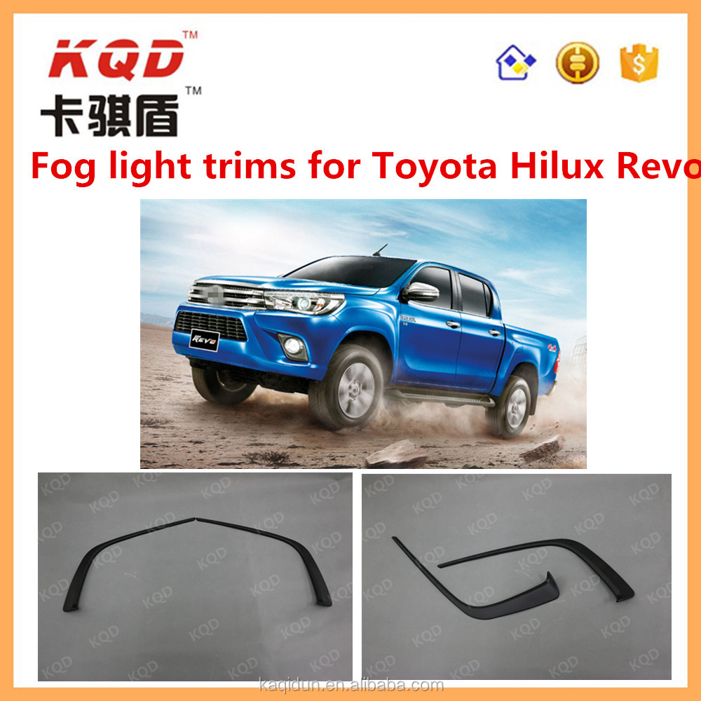 Top brand TOYOTA car decoration accessories ABS plastic Black Fog lamp eyebrow/frog light trims for HILUX REVO 2015