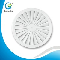 Cheaper HVAC System Steel Round Swirl Air Diffusers Grille with 24PCS Fixed Blades Provide a Strong Airflow in White Color