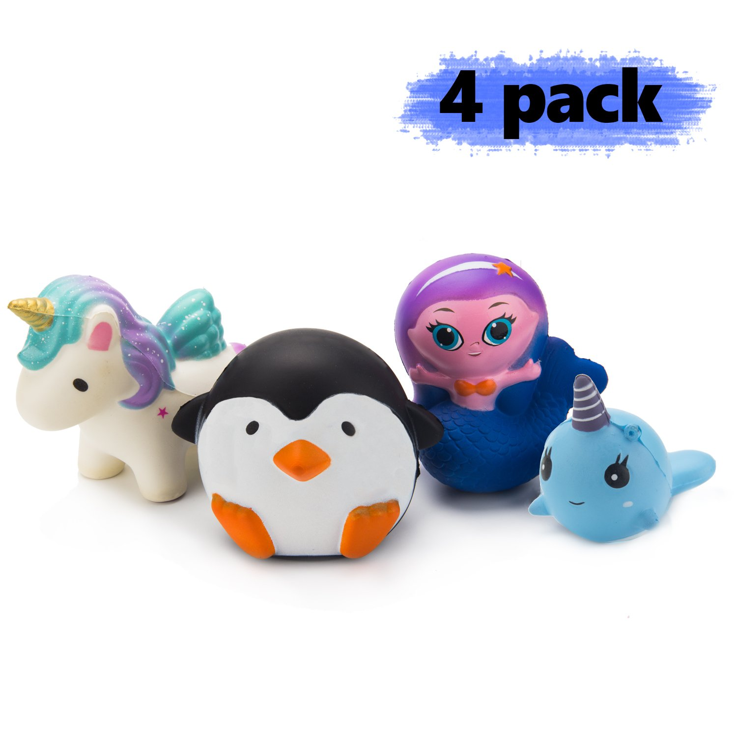 Grobro7 Kawaii Animal Slow Rising Squishy, Scented Soft Stress Relief Toy, Decorative Gift for Kids Party Toy, Including Cute mermaid, Penguin , Whale and Unicorn,4 Pack