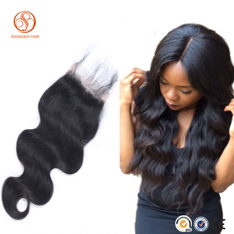 cheap 7A grade natural color lace closures in hair extension brazillian body wave with closure
