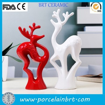 Wedding Gift Sika Deer Shaped Home Decor Ceramic Decorative Article