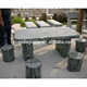 Chinese cheap outdoor furniture green stone garden marble table set