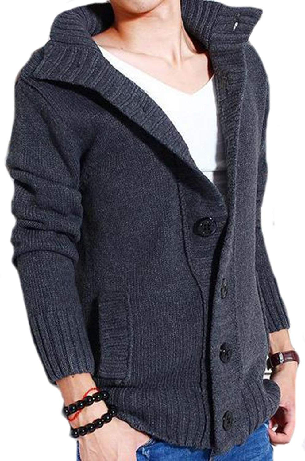 fb65ef25825f2 Get Quotations · KXP Mens Casual Baggy Knitted Buttonup Warm Outer Sweaters
