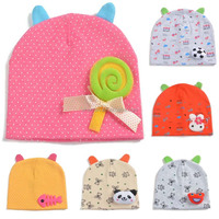 2016 newest korea style 100%cotton cute boys&girls baby beanie hat baby bonnet with animal head on