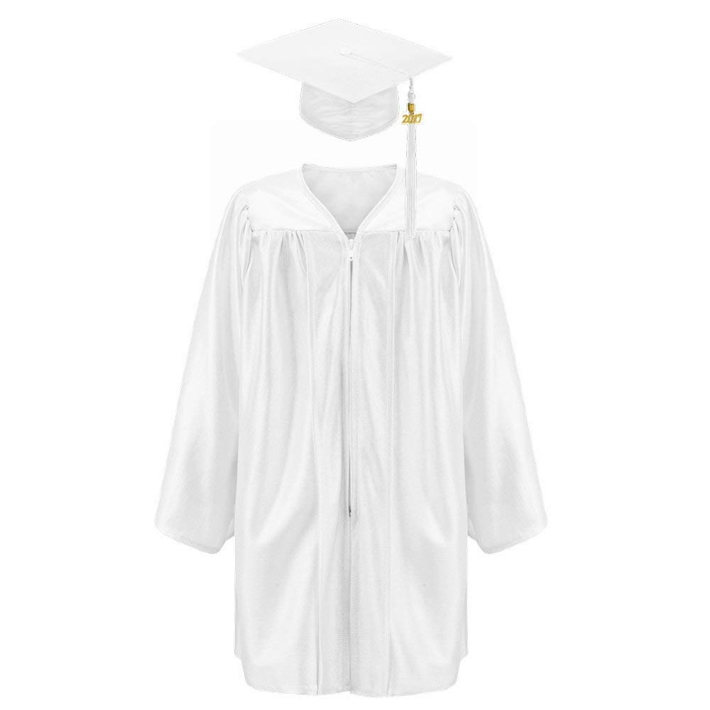 Robe Depot Unisex Shiny Kindergarten Graduation Gown Cap Tassel 2018 Package, White,S