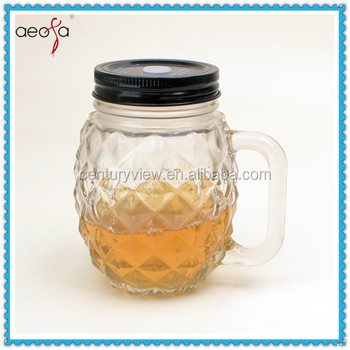 Round Pineapple Shaped Glass Clear Bottle With Plastic Lid Mason Jar