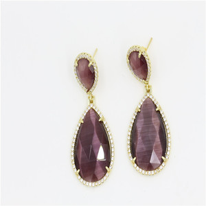 Women Fashion Accessories Faceted Purple Agate Gold Plating Earrings