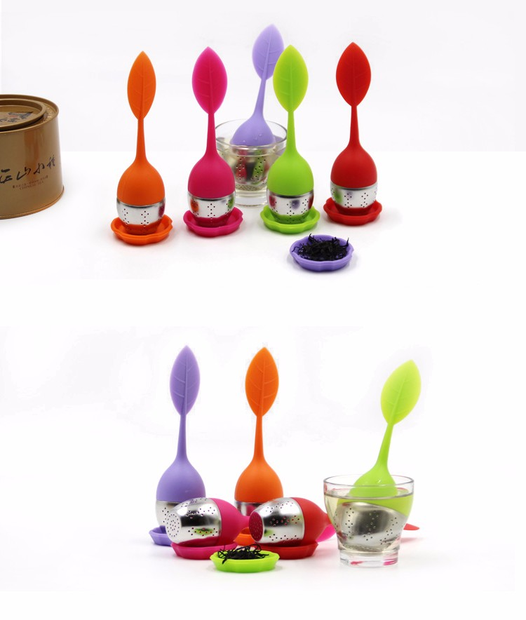Food grade leaf shape handle silicone tea infuser,stainless steel tea strainer