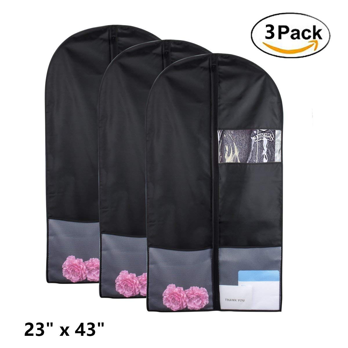 """Kernorv 43"""" Breathable Dust-proof Garment Bags Suit Bag with Clear Window, Garment Bags for Storage or Travel, Garment Bag Covers for Luggage Suits Coats Jackets or Dresses (Set of 3)"""