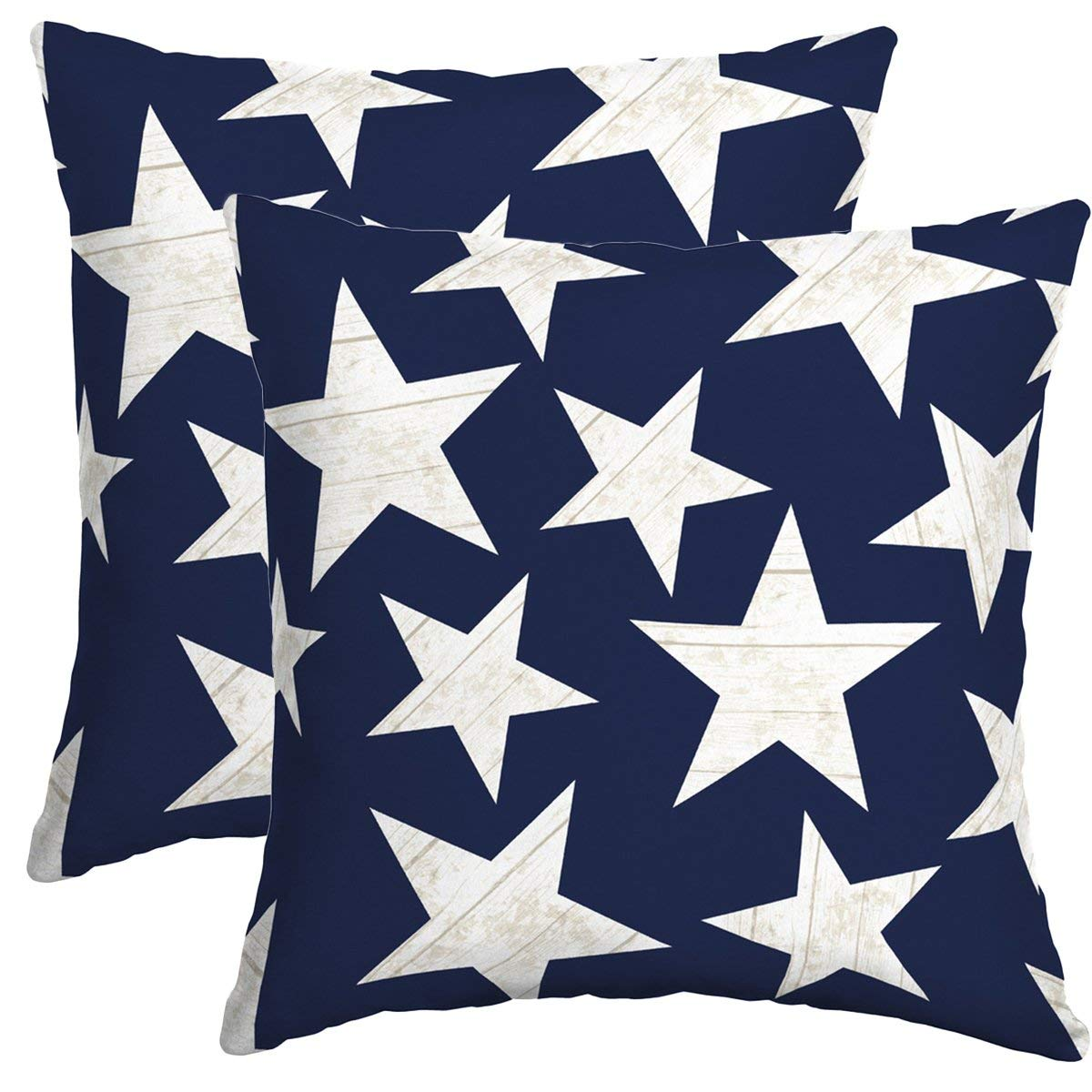 "Set of 2 Indoor/Outdoor Throw Pillow 16"" x 16"" x 4"" in Polyester Fabric Stars by Comfort Classics Inc."