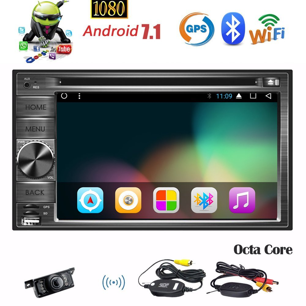 Wireless Camera!!Eincar Android Car Stereo 6.2inch Double din GPS Navigation Autoradio Octa-Core 7.1 Nougat System support CD DVD Video 1080P Player Bluetooth FM RDS Receiver Wifi Dongle