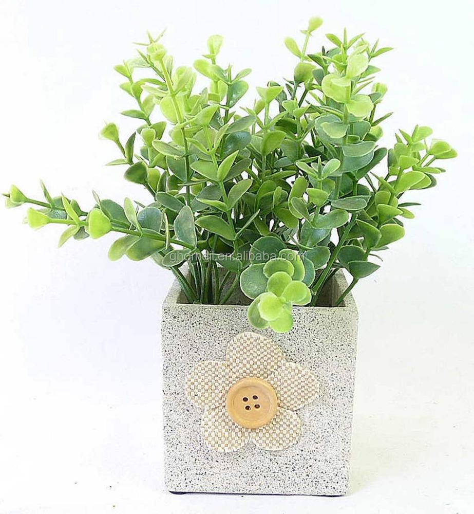 Artificial Herb Plant In Paper Mache Flowerpot Home Accents Faux