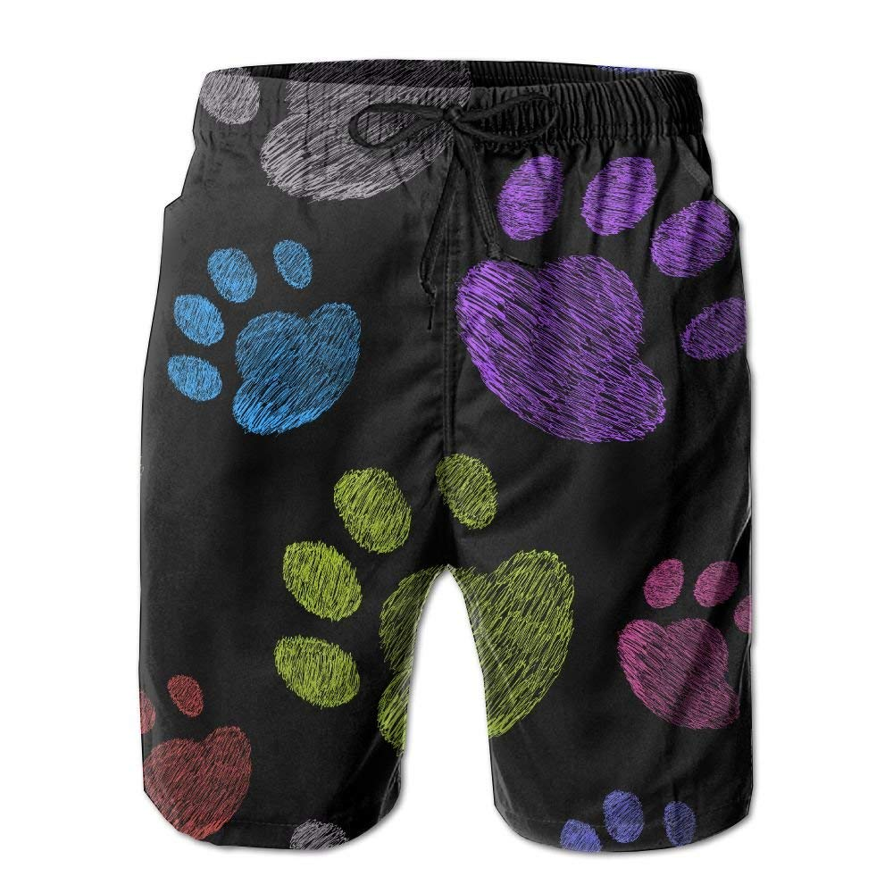 2c997c61a8 Get Quotations · ZAPAGE Boy's Quick Dry Beach Shorts Rainbow Cats Dogs Paw Swimwear  Water Shorts With Pockets