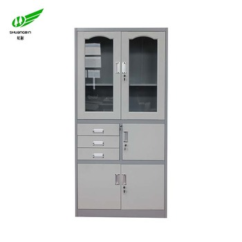 Model Designed White Gl Cabinet Door Lock Office Steel Cupboard With 3 Drawers And 2