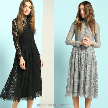 Lace Black Grey Long Sleeve Knee Length Dresses Fall 2015 Factory ...