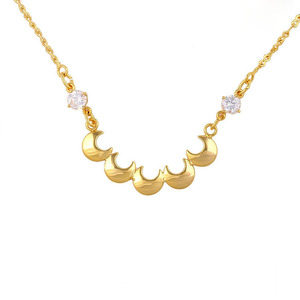 42765 xuping gold jewellery dubai moon shape zircon stone necklace