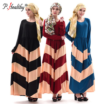 New Muslim splicing stripe long sleeve dress fashion abaya dress muslim women